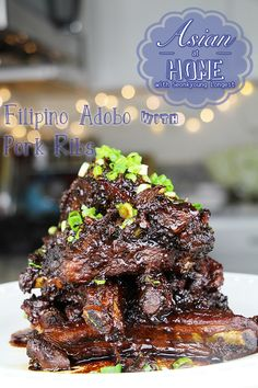 Filipino Adobo Recipe : Filipino Adobo with Baby Back Ribs - Asian at Home New video! Filipino Pork Adobo with Baby Back Ribs!!  The adobo sauce is perfectly sticky on ribs, the meat is falling off from the bones… Need I say more? Watch the video!! <3