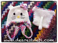 Crochet Newborn Hello Kitty Hat & Diaper Cover  ~ free pattern
