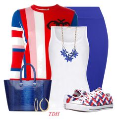 """""""Woven Converse"""" by talvadh ❤ liked on Polyvore featuring WearAll, Emilio Pucci, American Vintage, Victoria Beckham, Converse, Kate Spade and Fragments"""