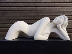 Handmade marble / mineral stone Abstract Contemporary or Modern Outdoor Outside Exterior Garden / Yard sculpture statuary sculpture by sculptor Jo Ansell titled: 'Irisha (Young female Lying Prone Carved stone Modern sculpture)' - Artwork View 5