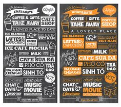 Typography decor on wall of coffee and some other place.