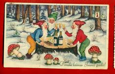 LATVIA LETTLAND A HAPPY NEW YEAR GNOMES AND MUSHROOMS VINTAGE POSTCARD