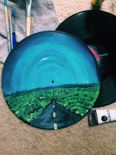 Hand Painted Vinyl Record on Mercari Cd Wall Art, Record Wall Art, Cd Art, Aesthetic Painting, Aesthetic Art, Record Crafts, Ideias Diy, Diy Canvas Art, Vinyl Art