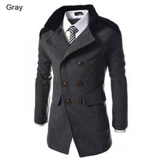Mens Double-breasted Long, Wool Winter Trench Coat Slim Fit -3 Colors M-3XL