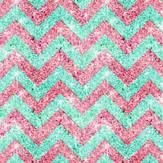 Chevron Pattern, pink & teal glitter photo print Stretched Canvas