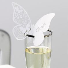 Something in the Air Butterfly Place Cards White | Name Placecards Wedding Place Cards- Buy at drinkstuff