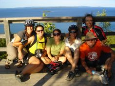 Cyclists enjoy a stop at scenic lookout from Manitoulin Island