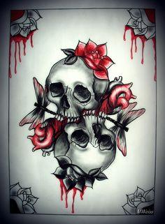 LOVE YOU TO DEATH tattoo flash skulls by *oldSkullLovebyMW on deviantART