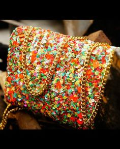 Many color sequins string clutch