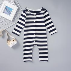Unisex Baby One Piece Striped Jumpsuit - anmino Baby Boy Jumpsuit, Striped Jumpsuit, Jumpsuits For Girls, Unisex Baby, Navy Stripes, Online Clothing Stores, Kids Fashion, Infant, Rompers