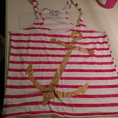 Red & White Tank with Gold Anchor Large Red & White Tank with Gold Anchor Tops Tank Tops