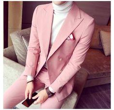 Korean Fashion Men, Mens Fashion Suits, Korean Men, Mens Suits, Korean Style, Pink Prom Suit, Pink Suit Men, Prom Tuxedos Pink, Terno Slim Fit