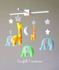 Baby crib mobile  Custom Baby Mobile  Elephant by LoveFeltXoXo, $145.00