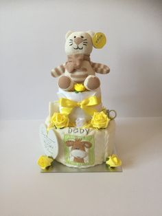 Neutral gender fluid nappy cake with knitted cat, great maternity, baby shower or pregnancy gift Gifts For Boys, Girl Gifts, Baby Gifts, Unisex Baby Shower, Baby Shower Gifts, Knitted Cat, Nappy Cakes, Baby Skin Care, Pregnancy Gifts