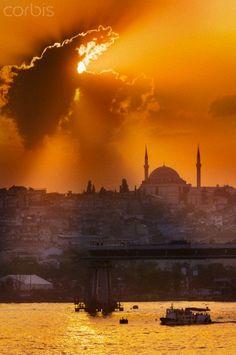 Sunset over the Bosphorus Strait, Istanbul, Turkey