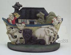 NOAH'S ARK w/ ANIMALS CAST IRON DOOR STOP