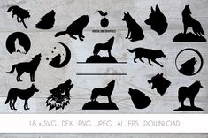 Wolf Silhouette, Silhouette Files, Silhouette Studio, All Silhouettes, Circuit Design, Cutting Files, Wilderness, Wall Decals, Vectors