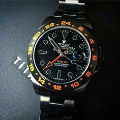 Rolex explorer II custom via Cool Watches, Rolex Watches, Rolex Explorer Ii, Casio Watch, Cufflinks, Ios App, Men, Accessories, Black
