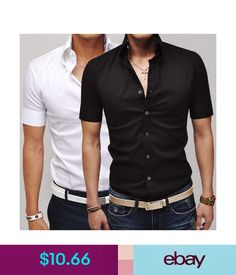 Casual Shirts Mens Man Short Sleeve Slim Fit Dress Shirt Tee Tops Casual Formal T-Shirt #ebay #Fashion