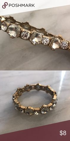 Chunky Gold Bracelet Chunky Gold bracelet with rhinestones from Francesca's. Francesca's Collections Jewelry Bracelets