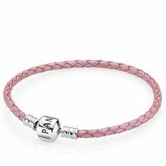 Pandora Pink Leather Clasp Bracelet $45