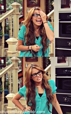 "God i miss hannah montana! ""Just admit it, i look scary smart."""