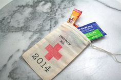New Year's favor bags, DIY Recovery Kit.  Set of 10.  Muslin drawstring bags, 3x5, DIY hangover kit for New Year's Eve party!