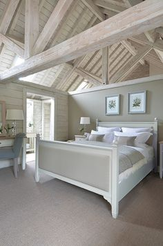 Neptune Bedroom Beds - Chichester Superking Bed With High Footboard-Old Chalk Again like this but with more colour. Barn Bedrooms, Home Bedroom, Master Bedroom, Bedroom Themes, Bedroom Decor, Bedroom Ideas, Bedroom Styles, New England Bedroom, Bedroom Furniture Online