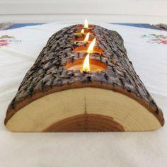 Wood Log Votive - Potential menorah