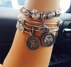 Alex and Ani initial and US Navy bangle and Pandora bracelet