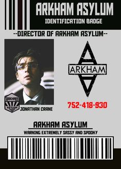 Arkham Asylum Director Identification Badge for Dr. Jonathan Crane