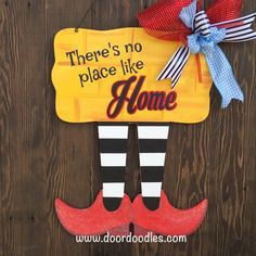 Ships Now! Wizard of Oz front door hanger decoration sign wreath There's no place like HOME Halloween Door Hangers, Halloween Signs, Wooden Door Hangers, Wooden Doors, Disney Fantasy, Wizard Of Oz Decor, Yellow Front Doors, Wood Crafts, Diy Crafts