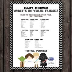 star wars baby shower purse game, starwars baby shower, whats in your purse game, instant download at purchase