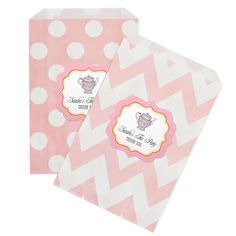 TREAT BAGS - Tea Party Chevron & Dots Goodie Bags (Set of 12) (Event Blossom EB2358TP) | Buy at Wedding Favors Unlimited (https://www.weddingfavorsunlimited.com/tea_party_chevron_and_dots_goodie_bags_set_of_12.html).