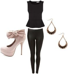 Black and neutral outfit under $100 - Black jeans, peplum top, neutral heels, earrings