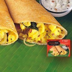 Gluten-Free Masala Dosa: Crepes made of rice and urad dal, stuffed with spiced potatoes and sauteed onions.