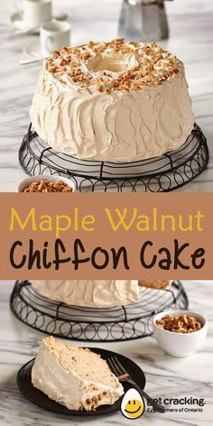 Who can resist this light-as-air, maple scented chiffon cake. Impressive to serve while scrumptious to eat. Sponge Cake Recipes, Cake Mix Recipes, Baking Recipes, Dessert Recipes, Maple Walnut Cake Recipe, Maple Cake, No Bake Desserts, Just Desserts, Delicious Desserts