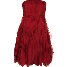Alice + Olivia Kahlo silk-chiffon dress ($299) ❤ liked on Polyvore featuring dresses, vestidos, short dresses, silk chiffon dress, mini dress, red mini dress and alice + olivia