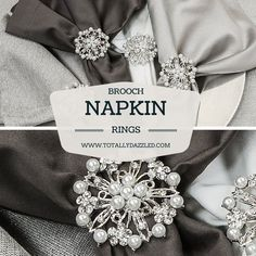 Click for more rhinestone brooch napkin rings at www.totallydazzled.com starting at only $2.25 each! #napkinring #weddingdecor