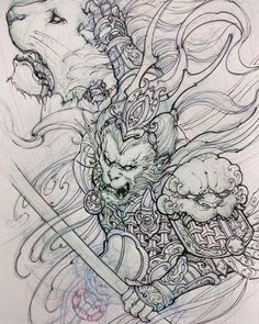Monkey king sketch. #chronicink #asiantattoo #asianink #irezumi #tattoo #sketch #illustration #drawing #monkeyking #irezumicollective