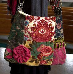 vintage velvet mix, carpet bag, I could make this using free samples
