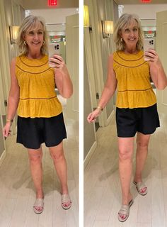 Ann Taylor, Summer outfits, casual tops, pull-on shorts, women's clothing, vacation looks, travel clothing Summer Outfits, Summer Fashions, Summer Dresses, Casual Tops, Casual Chic, Confident Woman, Flutter Sleeve Top, Curvy Fit, Fashion Over 50