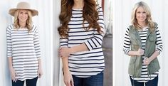 Striped shirts are a wardrobe essential.  The length of these are perfect to wear with jeans or leggings.  They look darling worn alone or layered under your favorite vest or jacket.
