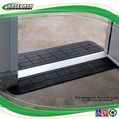 These rubber threshold ramps from SafePath provide a safe, smooth transition for wheelchair users. Multiple lengths and widths available. Handicap Accessible Home, Handicap Ramps, Handicap Accessories, Wheelchair Accessories, Handicap Equipment, Adaptive Equipment, Handicap Bathroom, Disabled Bathroom, Wheelchair Ramp