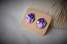 Deep Purple Earring ROSE FLOWER Earring Opal Rhinestone