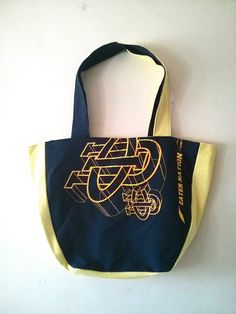 OKA BAG - Black+Yellow // 100% Handmade // Repurposed // Upcycled // Reversible // Large Tote Bag // Grocery Bag // Book Bag // Beach Bag