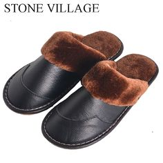 7cd348861 New Genuine Leather Slippers Non-Slip Soft Bottom Home Slippers Men And  Women #fashion