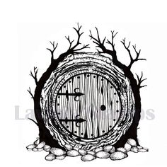 Lavinia stamp, Hobbit front door 8 cm x 7 cm - Lord of the Rings / Tolkien - Tattoo-Ideen Tolkien Tattoo, Tatouage Tolkien, Hobbit Tattoo, Lotr Tattoo, Hobbit Door, O Hobbit, Diy Album Photo, Lord Of The Rings Tattoo, Lord Rings
