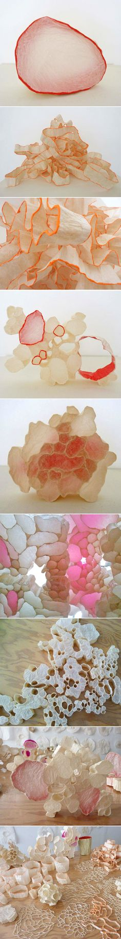 Sculptural work by San Francisco based artist Mary Button Durell - Tracing paper and wheat paste