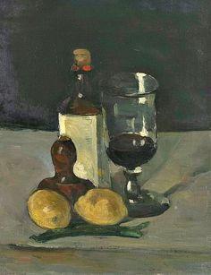 stilllifequickheart:    Paul Cezanne  Still Life with Bottle, Glass and Lemons  1867-69